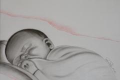Bambino, 30x21, terre orientali su cartoncino, 2014